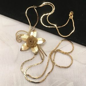 Vintage Gold Bolero Necklace With Gold Rose